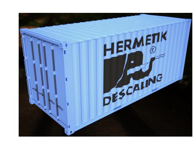 Container mit einer mobilen Entzunderungsanlage für Testzwecke