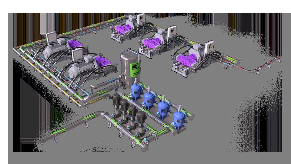 pump room with high-pressure pumps